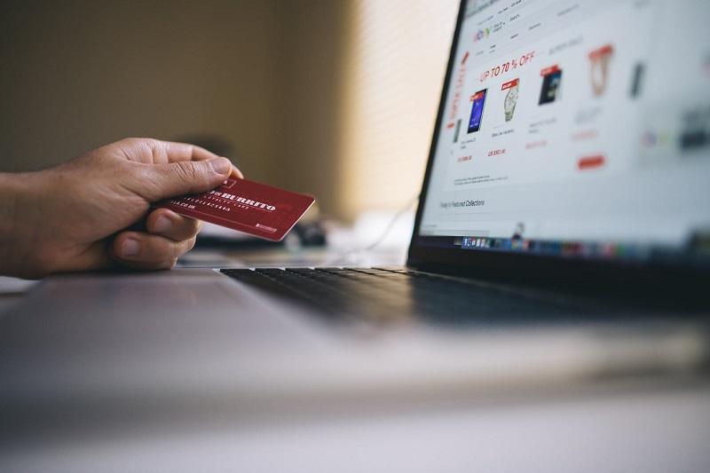 credit card at a computer