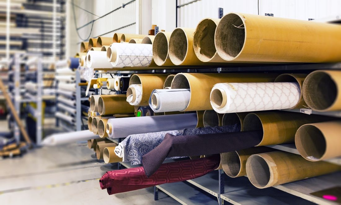 fabric rolls in a warehouse